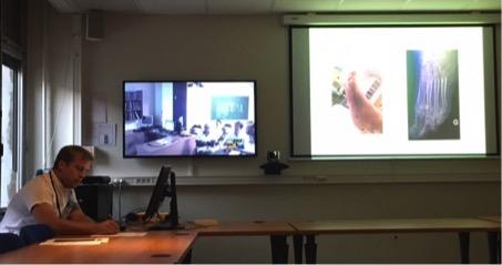 Séance de VisioRCP avec visualisation des correspondants et partage du fichier présentant l'histoire clinique du patient