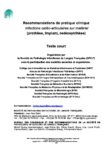 Recommandations de la Société de Pathologie Infectieuse de Langue Française (SPILF) sur les infections sur matériel 2009 (texte court)