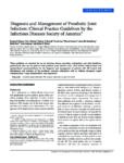 Diagnosis and Management of Prosthetic Joint Infection: Clinical Practice Guidelines by the Infectious Diseases Society of America